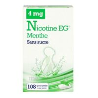 Nicotine EG 4 mg Gomme à mâcher médicamenteuse sans sucre menthe édulcorée à l'acésulfame potassique et saccharine Plq/108 à ANNECY